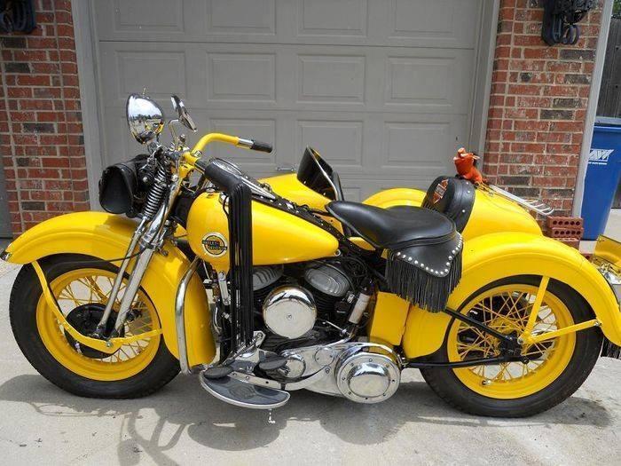 6200 partages modele g flathead harley en jaune brillant avec un side car