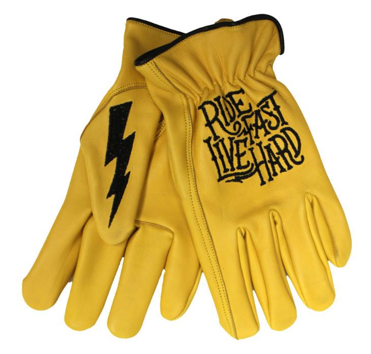 Gants en cuir ride fast live hard